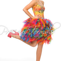 Precious Formals P46625 - Multi Color Strapless Ruffled Short Prom Dresses Online