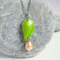 Cloisonne Green Leaf Pendant, Yellow Pearl Oxidized 925 Sterling Silver Vine, Rustic Necklace, Freshwater Pearl Jewelry