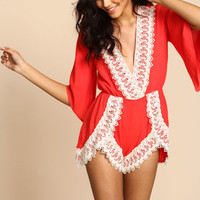 Red Crochet Plunge Crepe Romper - LoveCulture