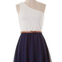 Reception Ready Dress - Navy and Ivory