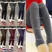 New Women Cable Knit Thick Winter Warm Stirrup Skinny Tights Leggings Pants