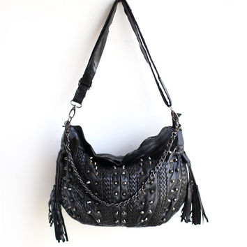 Soft Leather Rivet Stylish Tassels Bags Shoulder Bags [6049528321]