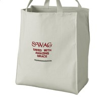 SWAG saved with amazing grace Embroidered Tote Bags | Zazzle