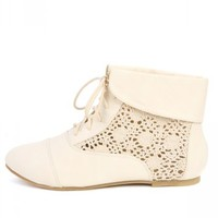 Cambridge-46h White Crochet Ankle Booties | MakeMeChic.com