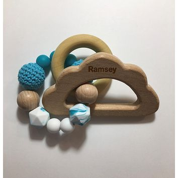Engraved Personalized Cloud Montessori Wooden Teether Rattle Organic Wood Teething Ring Gift for Baby Shower