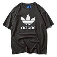 Adidas New fashion letter leaf print couple top t-shirt Dark Gray