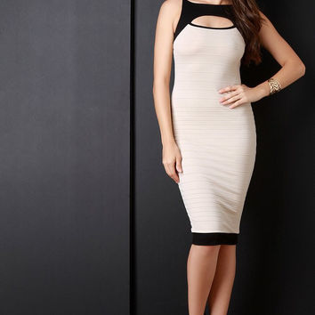 A Two Tone Contrast Trim Keyhole Bodycon Dress (New Arrival)