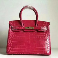 Beauty Ticks Hermes Women's Crocodile Leather Birkin Handbag Inclined Shoulder Bag #687