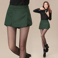 High Waist Woolen  Scallop Culottes Shorts