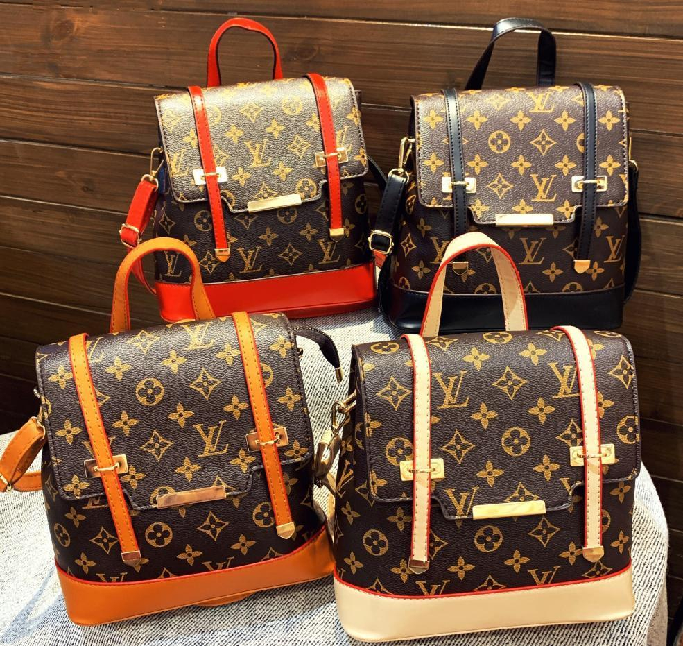 Image of LV Louis vuitton casual ladies monogrammed monogrammed colour backpack