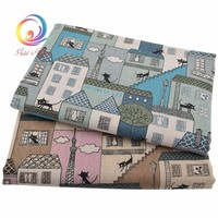 Cartoon Cat Patterned Linen Fabric Needlework Textile DIY Sewing Fabrics For Home Decoration Cloth Tablecloth Curtain Material
