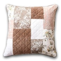 """DaDa Bedding Patchwork Vintage Dusty Rose Mauve Pink & Brown Floral Euro Pillow Sham Cover, 26"""" x 26"""""""
