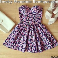 Missy Floral Bustier Dress with Adjustable Straps - Size XS/S/M BD 540 - Smoky Mountain Boutique