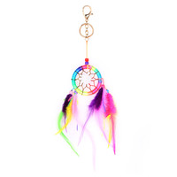 Colorful Dream Net With feathers Wall Hanging Dreamcatcher Keychain 1STL