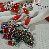 Christmas Stocking Necklace Set from Grandmother's Stash