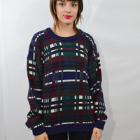 90s Plaid Sweater Jumper MED Oversize Soft Grunge Preppy Hipster Vintage Clothing Boys Large Slouchy Comfy Cute 1990s Clueless Tartan Tumblr