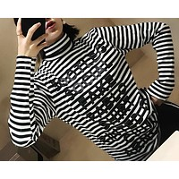 Letter Print Multicolor Stripe Turtleneck Long Sleeve T-shirt Women Casual Pullover Tops