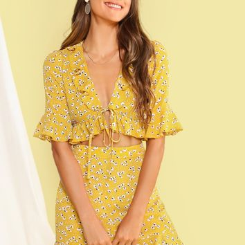 Ditsy Floral Ruffle Trim Knotted Top & Skirt Set