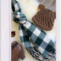 Plaid Out Scarf- Green