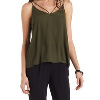 Dark Olive Strappy Caged Swing Tank Top by Charlotte Russe
