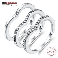 LZESHINE 100% 925 Sterling Silver Shimmering Wish Rings With Clear CZ Stackable Finger Rings for Women Silver Charming Jewelry