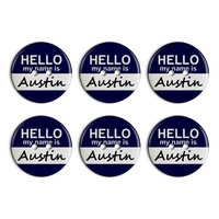 Austin Hello My Name Is Plastic Resin Button Set of 6