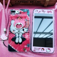 For iPhone 8 8Plus hello Kitty case +Tempered Glass Screen film for iPhone 7 7plus 6 6S 6S Plus  KT Conch Shell Cover+strap+ring