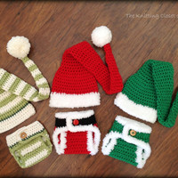 Crochet Photo Prop - Crochet Diaper Cover Pattern and Hat Pattern - Soaker Pattern - Santa and Elf Set