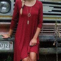 Fields Of Fireflies Burgundy Asymmetrical Hem Hi-Low Midi Dress