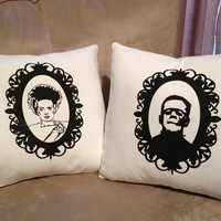 Monster movie pillow covers frankenstein and by thekitschycupcake