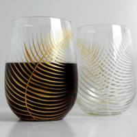Holiday Gold and White Ferns--Set of 2 Stemless Wine Glasses
