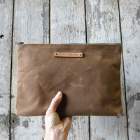 Large Waxed Canvas Pouch: Spice