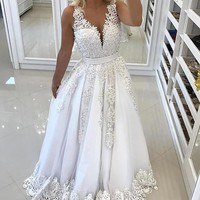V Neck Open Back Train Lace Tulle Princess Prom Dress