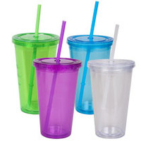 Bulk Double-Wall Plastic Tumblers with Straws, 16 oz. at DollarTree.com