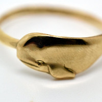 Gold Whale Ring Handforged 14K Gold Fill Ring by fifthheaven
