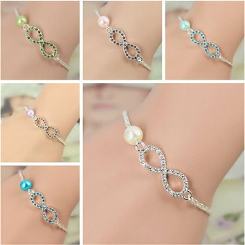 2017 Fashion Jewelry Best Bridesmaid Gift Infinity Bracelet New Heart Rhinestone Imitation Pearl Silver Plated Bracelet