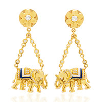 20K Elephant Blanket Earrings | Moda Operandi