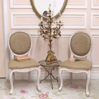 Bella Chateau Isabelle French Carved Dining Chair in White Wash - $395/ea - The Bella Cottage