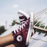 Converse Hight tops sports Leisure Comfort Shoes All Star Sneakers for Unisex Wine red