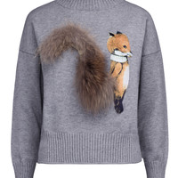 Gray High Neck Fluffy Squirrel Tail Knit Sweater