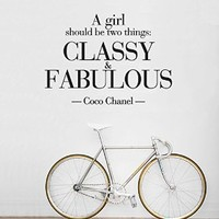 Wall Decal Vinyl Sticker Decals Art Decor Design Bedroom Nursery Girls Fashion Coco Chanel A girl should be Classy and Fabulous Quote World (r1386)