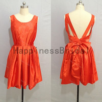 Party dress,short prom dress ,satin prom dress with bow,short evening dress,hot sales dress,formal evening dress,new arrival dress 2014