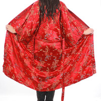 Dragon Kimono Robe Jacket 80s Red Japanese Print Asian
