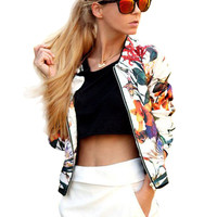 White Flower Printed Leisure Baseball Jacket