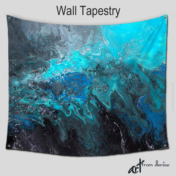 Wall Hanging Hippie tapestries, Abstract Art Tapestry Large, Boho, Teal Turquoise Cobalt Blue Black Bohemian Home decor Outdoor Patio Garden