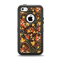 The Colorful Floral Pattern with Strawberries Apple iPhone 5c Otterbox Defender Case Skin Set