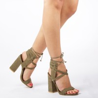 Simmi Shoes: Trends: : Lacie Cross Strap Lace Up Heels