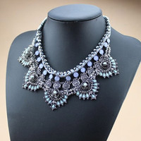 Blue Crystal Statement Floral Pendant Necklace