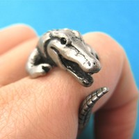 Large Crocodile Alligator Dragon Animal Wrap Around Hug Ring in Silver - Size 4 to 9 Available