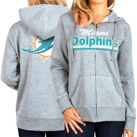 Miami Dolphins Women's Full Zip Hoodie - Gray